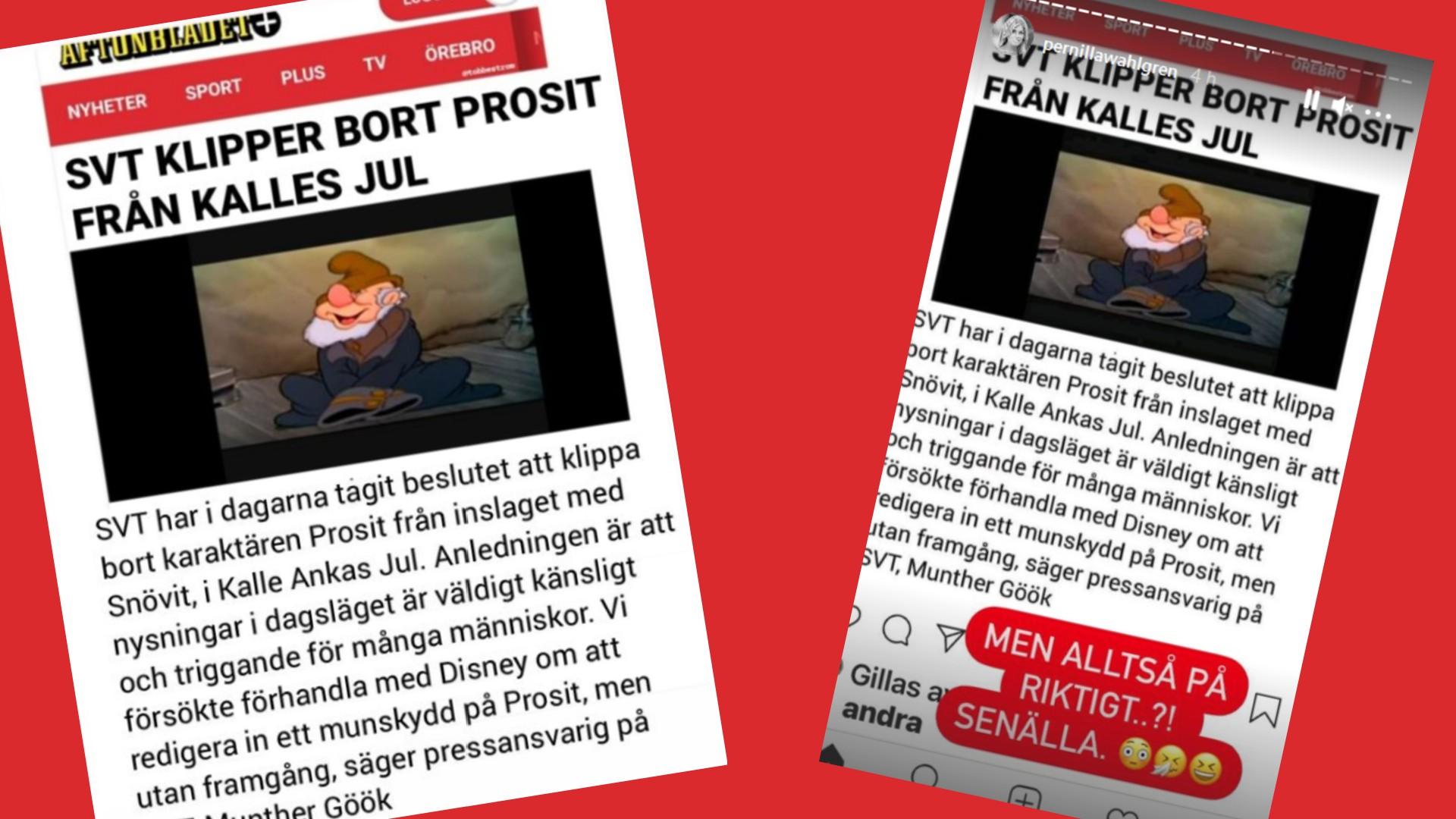 Pernilla rasande - SVT klipper bort Prosit från Kalles jul